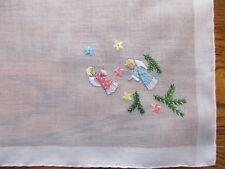 New w Label Vintage Swiss Cotton Angel Hankie Beautiful Embroidery