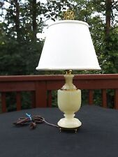 Beautiful Quartz Colored Marble Footed Lamp with Brass Details