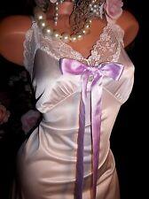 Vtg silky SATIN PRISSY BOW FRENCH LACE DRESS SLIP SHIMMERY NYLON NIGHTGOWN 40 42
