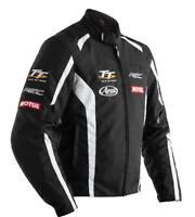 RST IOM TT Team CE Mens Textile Black & White Motorbike Motorcycle Jacket