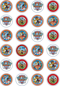24 x Edible Cupcake Toppers - Rice / Wafer Paper - Perfect for Paw Patrol Fans