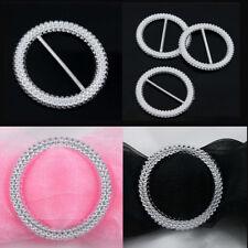 50 Pcs Round Chair Sash Plastic Acrylic Ribbon Buckle Slider Silver Tone Wedding
