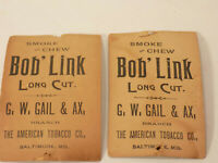 Antique Victorian American Bob Link Tobacco  Photo Card Baltimore, MD