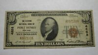 $10 1929 Port Henry New York NY National Currency Bank Note Bill Ch. #4858 RARE!