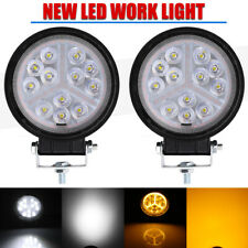 "2x 4"" 48W Amber White Round Spot/Flood Work Lights Fog Driving Lamp Truck PK 27W"
