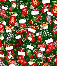 ~ 1/2 Yard, Noel Christmas Stockings on Green, Digitally Printed Cotton Fabric
