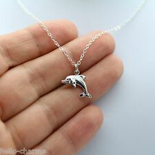 DOLPHIN NECKLACE - 925 Sterling Silver - Ocean Charm Bird Arctic Whale Tail NEW