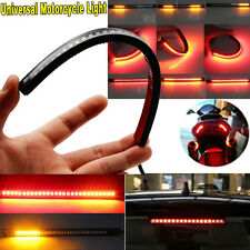 Motorcycle 32 LED Flexible Strip Lights Tail Turn Signal Brake Fender Fork Lamp