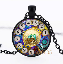 Vintage Phone Rotary Dial Glass Dome black Chain Pendant Necklace wholesale