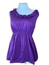 Motherhood Maternity Size Medium Sleeveless Solid Purple Blouse Shirt Ruffles
