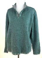 Woolrich Womens Teal Wool Blend 1/4 Zip Scandinavian Inspired Pullover Sweater L