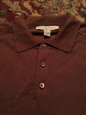 TOMMY BAHAMA Men's Polo Style SILK/Nylon Xtra Large BROWN L/S Shirt
