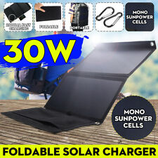 "30W 5V 20"" X 11"" Folding Solar Panel Dual USB Battery Charger Power Bank"