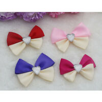 50X Quality Satin Ribbon Bow Ties Drill Centre 5.5cm 4 Colours Crafts DIY Sewing