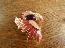 Broche plaqué or vintage 1980 oiseau de paradis