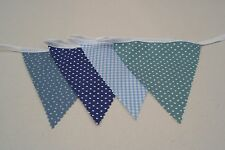 Sea Blue Mix Cotton Fabric Single Side Bunting 6m long