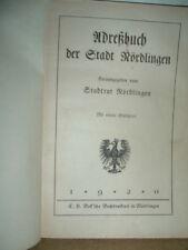 Adressbuch der Stadt Nördlingen 1920 Einwohnerbuch (R1/1)