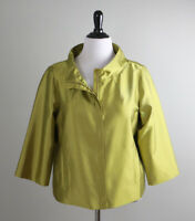 CHICO'S Travelers NWT $139 Structured Jacket Topin Golden Olive Size 2 US Large