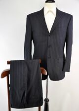 Gritti Ermenegildo Zegna Navy Blue Pinstripe Wool Suit Flat Front Italy 38S 46C