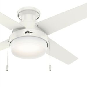 Hunter Fan 44 inch Low Profile Fresh White Ceiling Fan with Light and Pull Chain