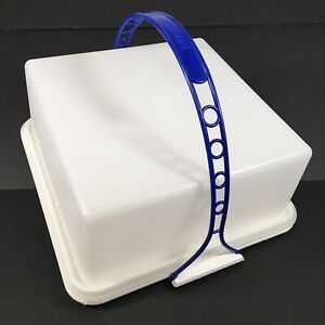 """Tupperware Square Cake Carrier 11"""" X 11"""" Blue Handle Very Nice 1241-5"""