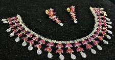 INDIAN BRIDAL JEWELRY RUBY BEADS AMERICAN DIAMOND ELEGANT NECKLACE EARRING SET