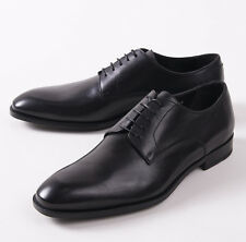 NIB $695 CANALI 1934 Black Calf Leather Plain Toe Derby US 7 D Shoes