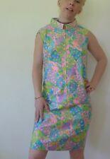 Vintage retro 12 M unused cotton shift dress NOS pastels blue zipper
