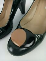 Sempre Di Dark Green Patent Button Heels Sz 37