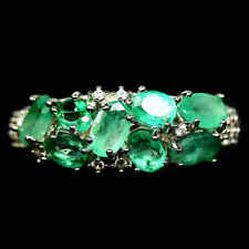 NATURAL GREEN EMERALD & WHITE CZ RING 925 STERLING SILVER SIZE7