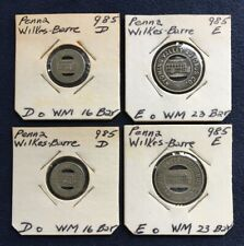 LOT- 4 Transit Tokens Wilkes Barre PA Wyoming Valley Autobus TWO Types 985 D E