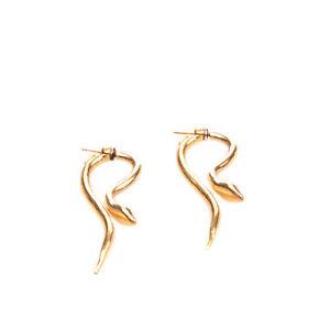 RRP €240 GIULIA BARELA 24K Gold Plated Snake Jacket Earrings HANDMADE in Italy