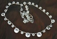 Beautiful Vintage Art Deco Clear Paste Open Backed Graduated Riviere Necklace