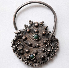 Ancient Middle Eastern India Silver and Turquoise Filigree Nose Ring