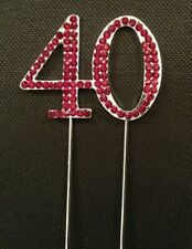 40TH RUBY ANNIVERSARY DIAMANTE CAKE TOPPER DECORATION 40 TH FORTY RED BIRTHDAY