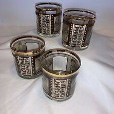 Set of 4 Roaring Twenties Movie Star Bar Rocks Whiskey Dbl Old Fashioned Glasses
