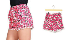 Pom pom fringed shorts! High waist, elastic band, Pink Flowers - S or M