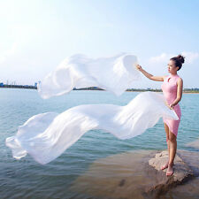 180cm Real Silk Belly Dance Fan Veils for Pair White Color Belly Dancing Fans