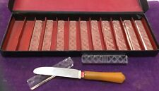 "Vintage Boxed Clear GLASS Set (12) KNIFE RESTS ~ 3-1/4"" Etched/Beveled ~ GERMANY"