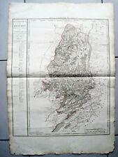 RIESIGE LANDKARTE FRANKREICH DEP. DE HAUT RHIN 1790 KUPFERSTICH D'HOUDAN RHEIN