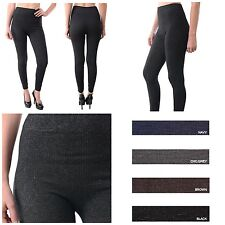 Women Seamless Footless Knitted Striped Legging