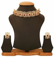 Bollywood Mughal bridal jewelry adjust chikpatti Choker gold tone necklace set