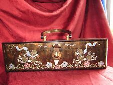 VINTAGE RARE WILARDY HAND-PAINTED POODLE LUCITE PURSE PEARLIZED  CHOCOLATE BROWN