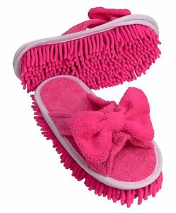 Evriholder Slipper Genie - Pink Microfiber Cleaning Slippers w/Bow - Size 6 to 9