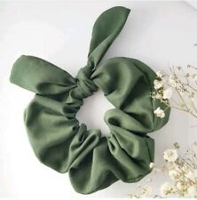 Olive green Scrunchie Hand made Hair Bow Ponytail Holder Hair Tie