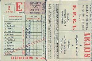 R@R@ SCHEDA ENALOTTO CONCORSO N.2 DEL 02/08/1958 VALIDATA, BELLA