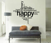"""Happy"" Quote Removable Removable Wall Sticker Home Decor Decal Art Mural Gift"
