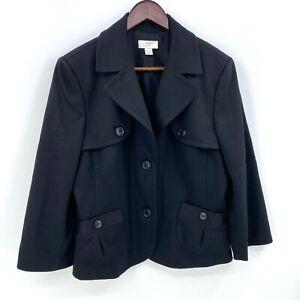 Ann Taylor LOFT Black Double Breasted Blazer Jacket Size 16