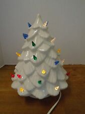 Ceramic White Christmas Tree Lights Lit Works On Off Switch