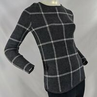 Athleta Womens XS Extra Fine Merino Wool Pullover Sweater Gray Block Pattern